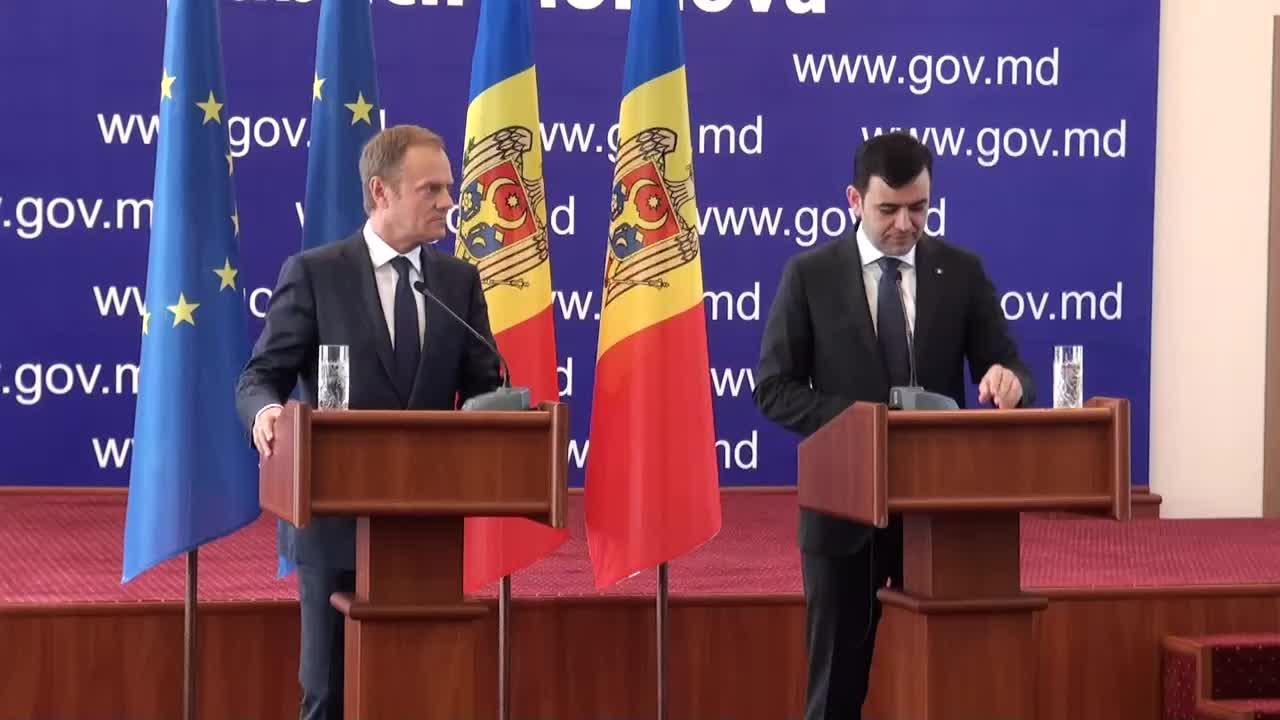 Conferință de presă susținută de prim-ministrul Republicii Moldova, Chiril Gaburici, și președintele Consiliului Uniunii Europene, Donald Tusk