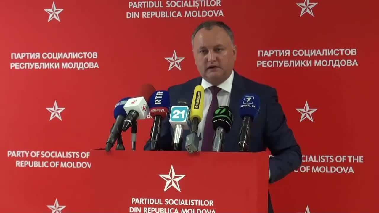 Conferinta de presa sustinuta de presedintele PSRM, Igor Dodon
