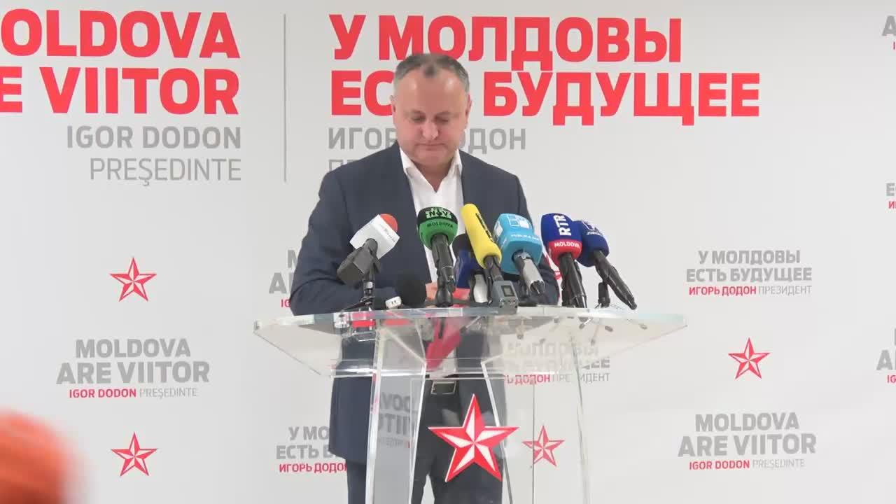 Briefing susținut de candidatul la funcția de președinte al Republicii Moldova, Igor Dodon
