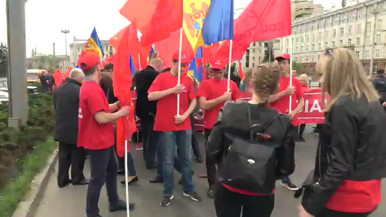 Marșul Solidarității și Dreptății Sociale organizat de Partidul Socialiștilor din Republica Moldova. Mitingul dedicat Zilei Internaționale a Solidarității Muncitorilor.