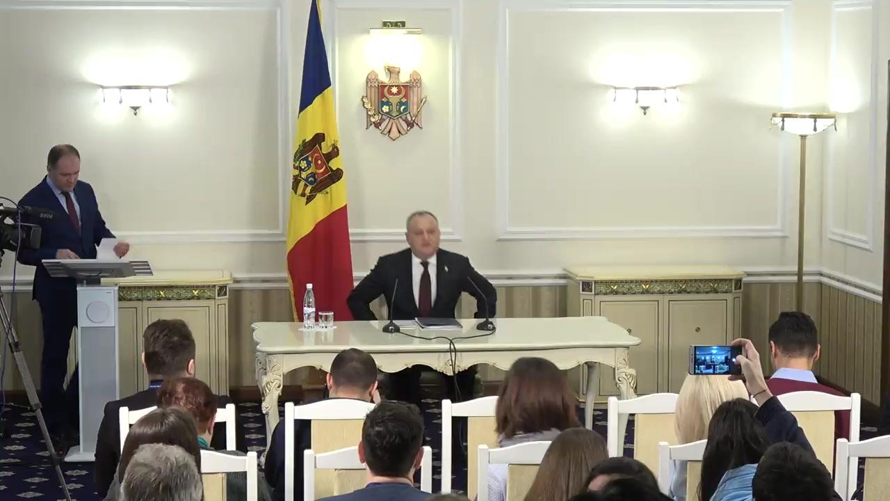 Conferință de presă susținută de Președintele Republicii Moldova, Igor Dodon, de prezentare a bilanțului activității sale de un an în funcție