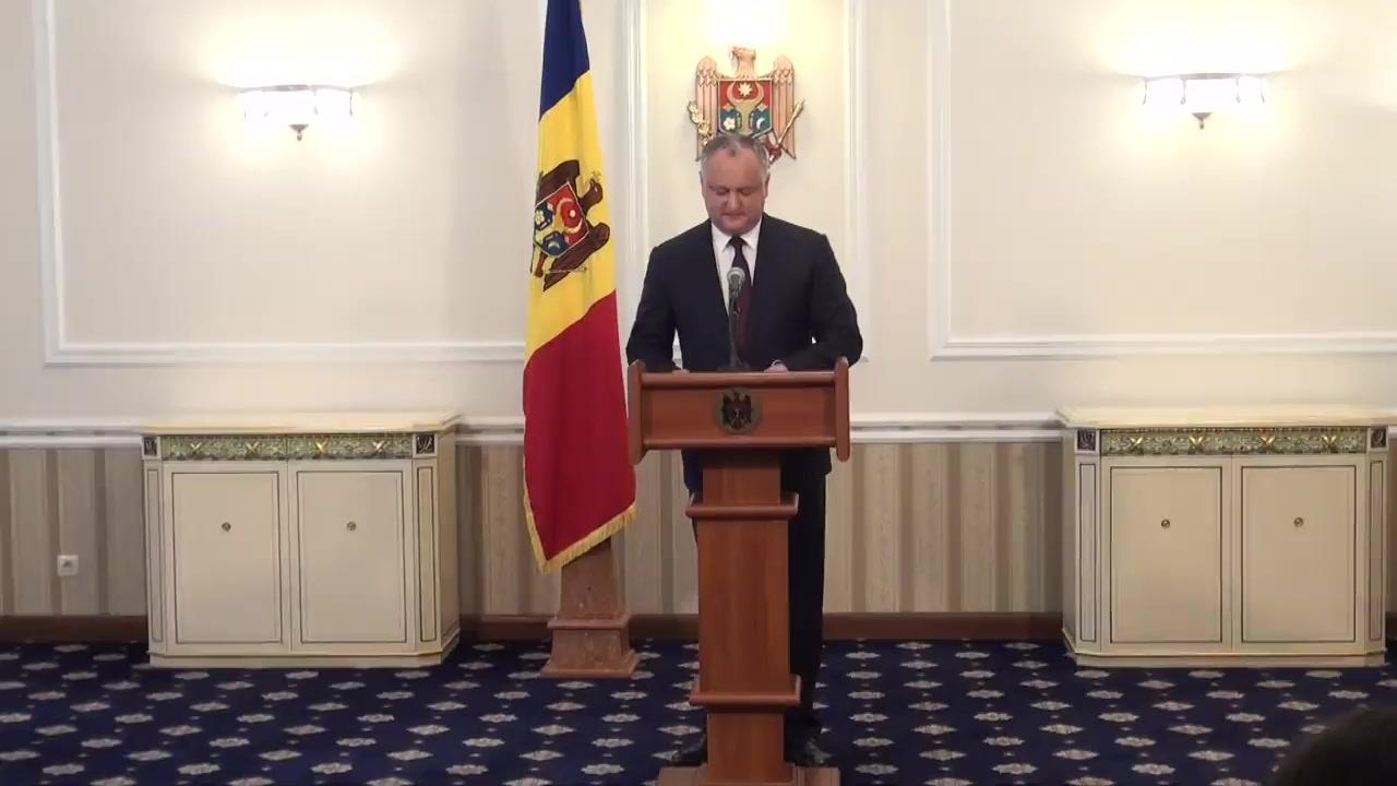 """Conferință de presă susținută de președintele Republicii Moldova, Igor Dodon, cu tema """"Moldova a primit statutul de observator în cadrul Uniunii Economice Eurasiatice"""""""