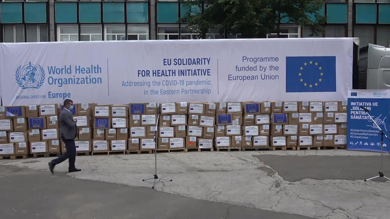 Ceremonia de transmitere a ajutorului umanitar oferit Republicii Moldova de către Uniunea Europeană și Organizația Mondială a Sănătății, în contextul combaterii pandemiei COVID-19