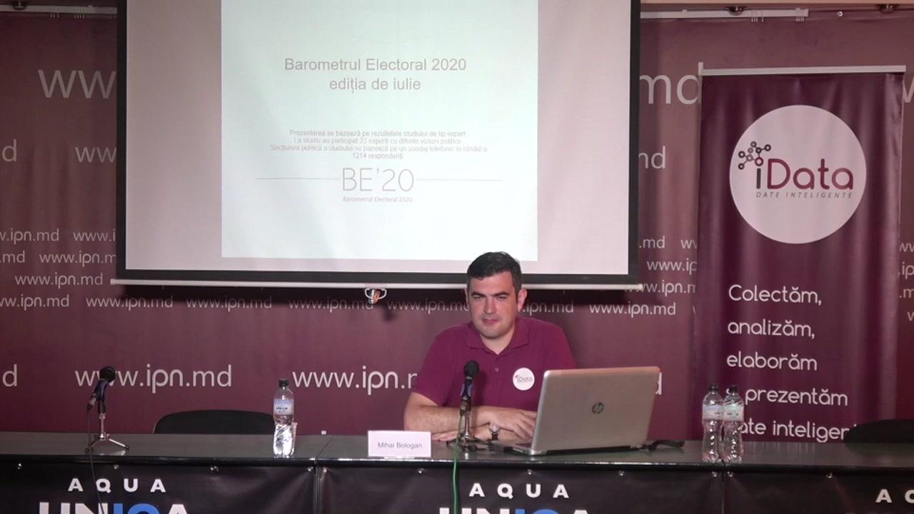 """Conferința de presă organizată de Compania Date Inteligente SRL (iData) cu tema """"Barometrul Electoral 2020 – ediția de iulie. Prezentarea rezultatelor studiului – Situația politică din Republica Moldova"""""""