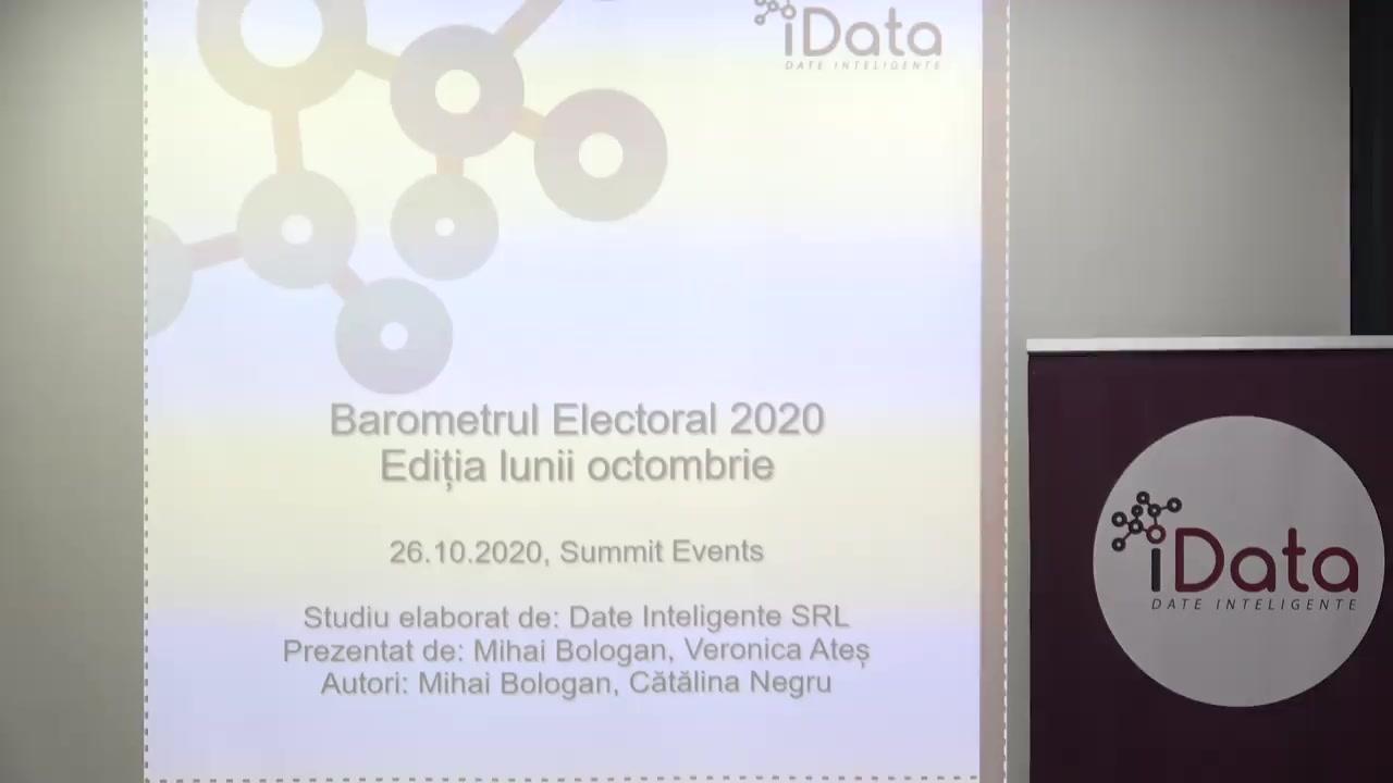 """Conferință de presă organizată de Date Inteligente (iData) cu tema """"Barometrul Electoral 2020-ediția lunii octombrie. Prezentarea rezultatelor studiului socio politic la nivel național, în regiuni Transnistria și în rândul diasporei"""""""