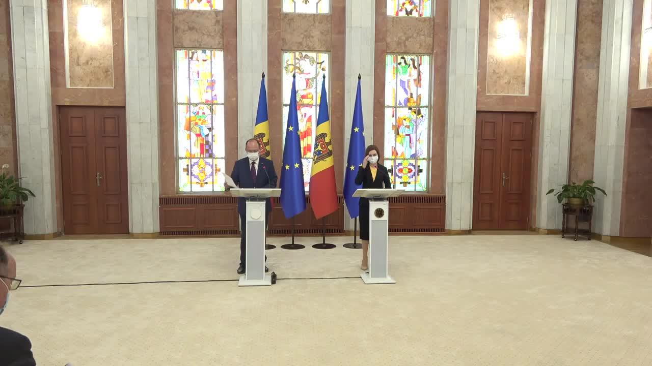 Declarație de presă susținută de Președintele Republicii Moldova, Maia Sandu, și Ministrul Afacerilor Externe al României, Bogdan Aurescu