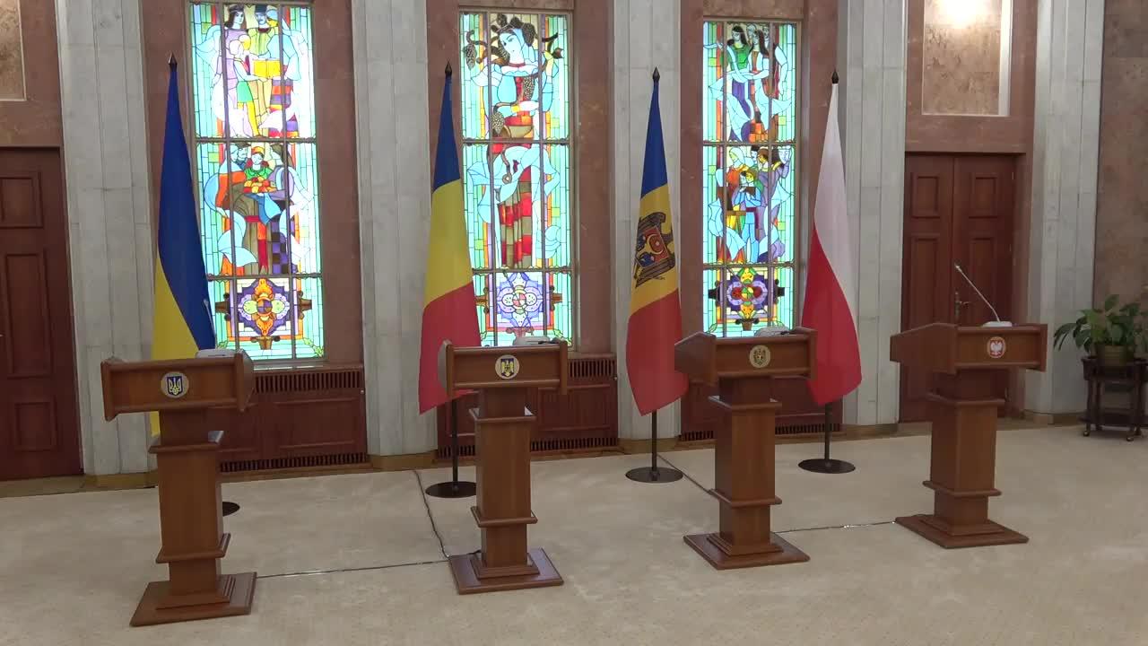 Declarații de presă comune făcute de Președintele Republicii Moldova, Maia Sandu, Președintele României, Klaus Iohannis, Președintele Republicii Polone, Andrzej Duda și Președintele Ucrainei, Volodymyr Zelenskyy