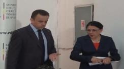 Ministrul educației, Ecaterina Andronescu, și ministrul Liviu Marian Pop susțin o conferință de presă prilejuită de ceremonia de predare - primire a mandatului