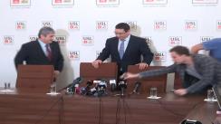 Conferința de presă susținută de liderii USL