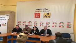 Conferință de Presă a USL Cluj cu participarea președintelui PSD Cluj, dl. Remus Lăpușan, președintele PNL Cluj, dl. Marius Nicoară, vicepreședintele PNL Cluj, dna. Steluța Cătăniciu, candidat al USL Cluj în Colegiul 2 de Camera Deputaților și deputatul Mircia Giurgiu, candidat al USL în Colegiul Senatorial nr. 1