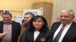 Declarații de presă vicepreședintele PNL Cluj, dna. Steluța Cătăniciu, candidat al USL Cluj în Colegiul 2 de Camera Deputaților și deputatul Mircia Giurgiu, candidat al USL în Colegiul Senatorial nr. 1