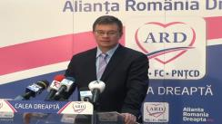Conferință de presă susținută de co-președintele ARD, Mihai Răzvan Ungureanu