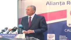 Conferință de presă susținută de coordonatorul campaniei electorale a ARD, Adriean Videanu