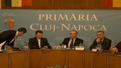 Conferință de presă organizată de primarul municipiului Cluj-Napoca dl. Emil Boc