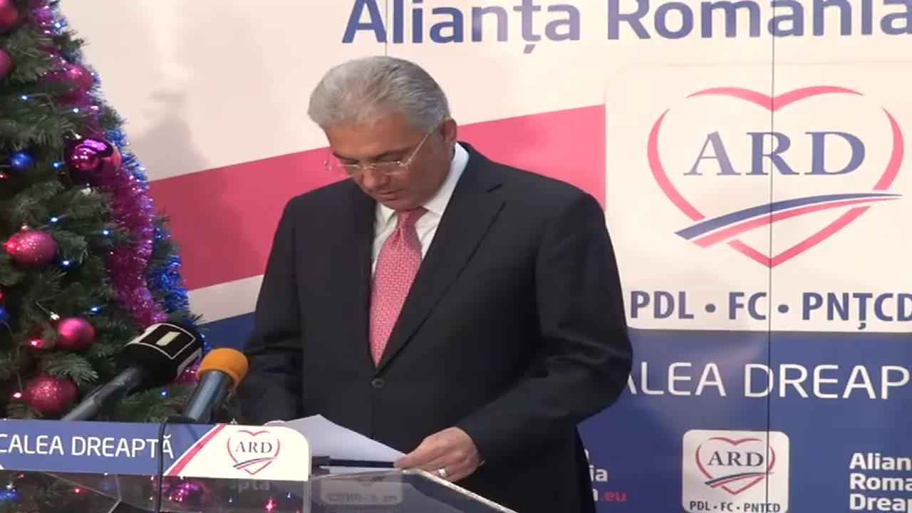 Conferinţă de presă susţinută de coordonatorul campaniei electorale a ARD, Adriean Videanu