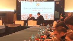 Conferință de presă susținută de prim-ministrul României, Victor Ponta, alături de ministrul de Finanțe, Daniel Chițoiu, ministrul Delegat pentru Buget, Liviu Voinea și ministrul Fondurilor Europene, Eugen Teodorovici