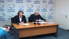 Conferință de presă susținută de vicepreședinții partidului Forța Civică, Teodor Mărieș, președinte al Asociației 21 Decembrie, și Smaranda Vornicu, purtător de cuvânt al FC