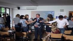 Declarații de presă susținute de președintele PDL, Vasile Blaga după dezbaterea organizată de Institutul de Studii Populare