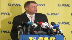 Conferință de presă susținută de prim-vicepreședintele PNL, Klaus Iohannis