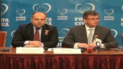 Conferință de presă susținută de președintele Partidului Forța Civică, Mihai-Răzvan Ungureanu, și secretarul general, Ștefan Pirpiliu