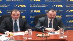 Conferință de presă susținută de președintele filialei municipale a PNL Iași, Marius Dangă și candidatul la europarlamentare, Andrei Muraru