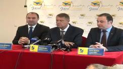 Conferință de presă susținută de prim-vicepreședintele PNL, Klaus Iohannis, președintele PNL Iași, Cristian Adomniței, și candidatul PNL Iași la alegerile europarlamentare, Andrei Muraru