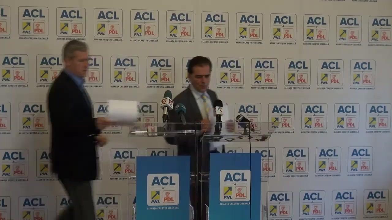 Conferință de presă susținută de liderii Alianței Creștin-Liberale Ludovic Orban, vicepreședinte PNL, și Cătălin Predoiu, prim-vicepreședinte PDL