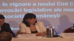 """Conferința """"Intrarea în vigoare a noului Cod civil"""". Discursul Laviniei Curelea, Înalta Curte de Casație și Justiție"""