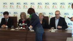 Conferință de presă susținută de purtătorul de cuvânt al PNL, Alina Gorghiu, deputatul PNL, Lucia Varga, liderul Grupului parlamentar al PNL, George Scutaru, și liderul Grupului parlamentar al PDL, Tinel Gheorghe