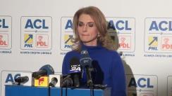 Conferință de presă susținută de purtătorul de cuvânt al PNL, Alina Gorghiu