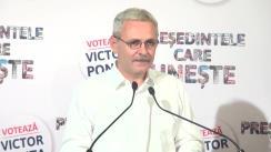 Declarație de presă susținută de președintele executiv al PSD, Liviu Dragnea, anunțarea rezultatelor exit-poll