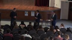 """Dezbaterea publică organizată de OSB București cu tema """"Votăm în România pentru Moldova!"""", cu participarea lui Oleg Efrim, ministrul Justiției al Republicii Moldova și George Mocanu, deputat în Parlamentul Republicii Moldova"""