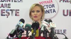 Conferință de presă susținută de vicepreședintele și purtătorul de cuvânt al PSD, Gabriela Firea