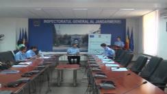 """Conferința de presă prilejuită de încheierea proiectului """"Implementarea unui sistem de tip e-learning pentru instruirea și perfecționarea continuă a angajaților Jandarmeriei Române"""""""