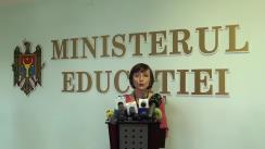 """Conferință de presă susținută de ministrul educației, Corina Fusu, cu tema """"Îmbunătățirea Regulamentului cu privire la organizarea și desfășurarea concursului pentru ocuparea funcției de director și director adjunct în instituțiile de învățământ general"""""""