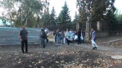 Acțiune de protest organizată de PSRM împotriva reluării construcției a unui bloc locativ în fața clubului Codreanca