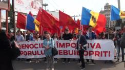 Acțiune de protest organizată de susținătorii Partidului Socialiștilor din Republica Moldova și Partidului Nostru împotriva actualei guvernări criminale