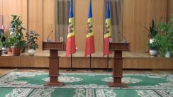 Briefing susținut de prim-ministrul Republicii Moldova, Valeriu Streleț, și ministrul Afacerilor Externe și Integrării Europene, Natalia Gherman