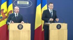 Conferință de presă susținută de prim-ministrul României, Victor Ponta, și de prim-ministrul Republicii Moldova, Valeriu Streleț