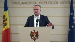 Declarațiile lui Igor Dodon în timpul ședinței Parlamentului din 15 octombrie 2015