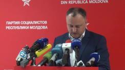 Conferință de presă susținută de președintele Partidului Socialiștilor din Republica Moldova, Igor Dodon