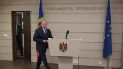 Briefing susținut de prim-ministrul Republicii Moldova, Valeriu Streleț, înainte de examinarea moțiunii de cenzură
