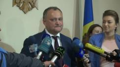 Declarațiile lui Igor Dodon după ședința de lucru cu participarea liderilor fracțiunilor și partidelor parlamentare
