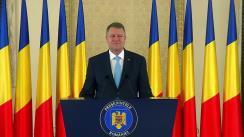 Mesajul președintelui României, Klaus Iohannis, susținut cu ocazia Zilei Naționale a României