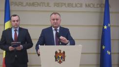 Declarațiile lui Igor Dodon în timpul ședinței Parlamentului din 10 decembrie 2015