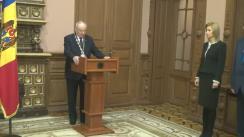 Irina Vlah și Gheorghe Duca depun jurământul în prezența președintelui Republicii Moldova, Nicolae Timofti