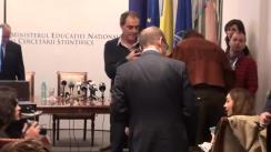 Conferință de presă susținută de ministrul educației naționale și cercetării științifice, Adrian Curaj, prilejuită de lansarea în dezbatere publică a proiectului de Hotărâre de Guvern privind Codul studiilor universitare de doctorat