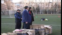 Înmânarea noului echipament elevilor din școala de fotbal din Bălți de către primarul Renato Usatîi