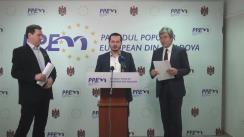 Conferință de presă organizată de fracțiunea municipală a Partidul Popular European din Moldova privind proiectului legii, înaintat de Partidul Liberal în Parlamentul Republicii Moldova, cu privire la statutul municipal