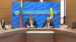 Conferință de presă susținută de ministrul Afacerilor Externe și Integrării Europene al Republicii Moldova, Andrei Galbur, și ministrul Afacerilor Externe al Lituaniei, Linas Linkevičius